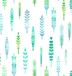 Seamless pattern of watercolor leaves vector image