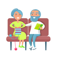 senior lady knitting and gentleman reading on sofa vector image