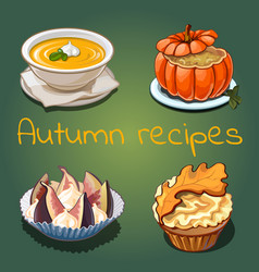set dishes and food on theme autumn vector image