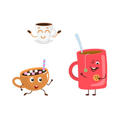 set of funny characters from hot drink vector image