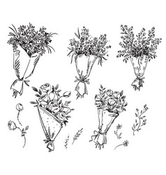 Set of hand drawn bouquets sketch vector