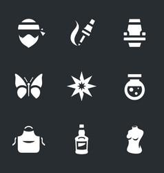 set tattoo salon icons vector image