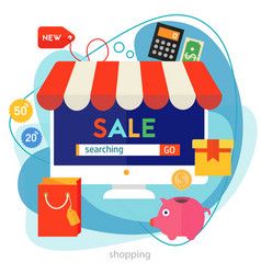shopping concept banner square trendy vector image
