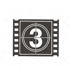 Silhouette film strip part with countdown vector