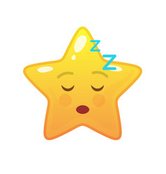 Sleeping star shaped comic emoticon vector