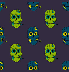smoking robot skull seamless pattern vector image