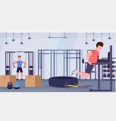 Sports men doing exercises on parallel bar vector
