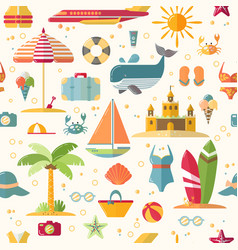 Summer flat seamless pattern with holyday and vector