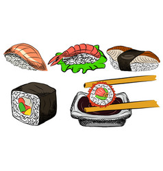 sushi set of asian food vector image