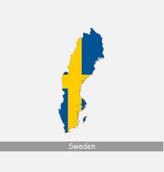 Sweden map flag vector