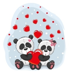Two Pandas with heart vector