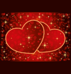 two romantic hearts vector image