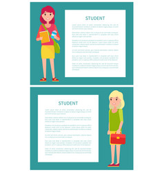 two students girls in cartoon style smiling woman vector image