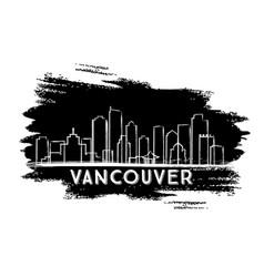 Vancouver skyline silhouette hand drawn sketch vector