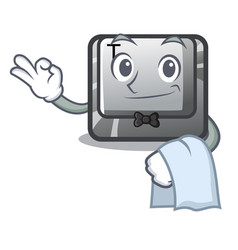 Waiter button t in keyboard cartoon vector