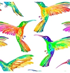 Watercolor hummingbirds seamless pattern vector