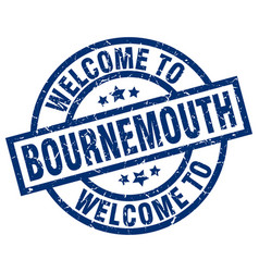 welcome to bournemouth blue stamp vector image