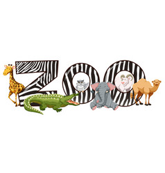 Wild animals and zoo sign vector