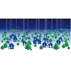 winter banners with cartoon houses vector image vector image