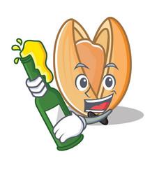 With beer pistachio nut mascot cartoon vector