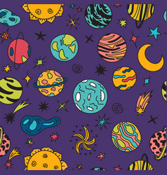 Cartoon galaxy with comets asteroids stars and vector