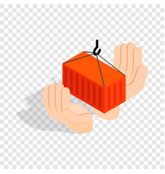 hands holding container isometric icon vector image vector image