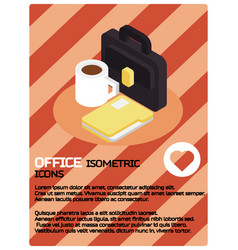 office color isometric poster vector image vector image
