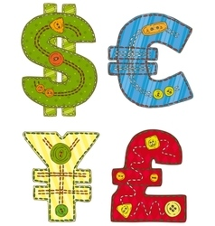 Patchwork Currency Symbols vector image vector image