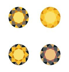 Set of gold diamonds vector image
