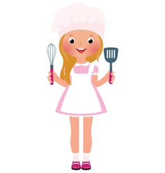 Smiling girl chef vector image