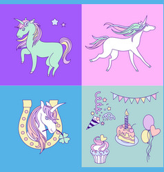 unicorn holiday card with four colorful parts vector image