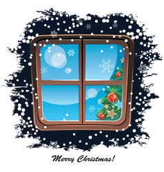 window snowy night Christmas background vector image