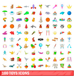 100 toys icons set cartoon style vector image vector image