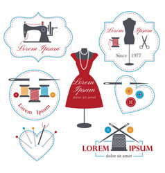 set of tailor labels badges and emblems tailor vector image