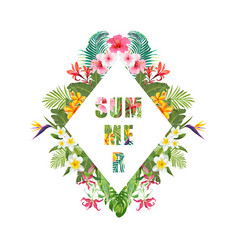 tropical flowers and palms summer banner vector image vector image