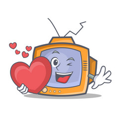 tv character cartoon object with heart vector image vector image