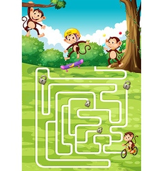 Boardgame design with monkeys in background vector image vector image