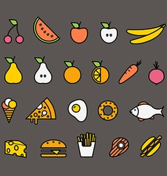 Different food silhouette icons collection Design vector image