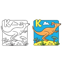 Little kangaroo coloring book Alphabet K vector image vector image