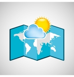 map with icon cloud sun weather graphic vector image