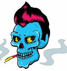 rock and roll style skull vector image vector image