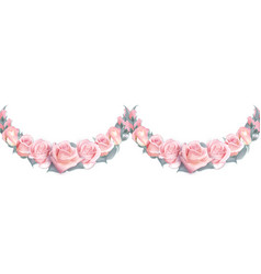 seamless garlands of pink roses isolated on a vector image vector image