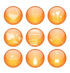 Set of winery sphere icons vector image