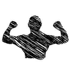silhouette drawing half body muscle man fitness vector image vector image