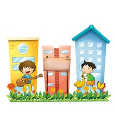 Two musicians near an empty wooden signboard vector image