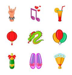 exultancy icons set cartoon style vector image