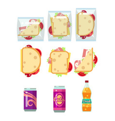 fast food dinner set - sandwiches and drinks vector image vector image