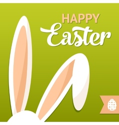 Happy easter card with rabbit ears vector