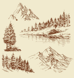 nature design elements mountains trees vector image vector image