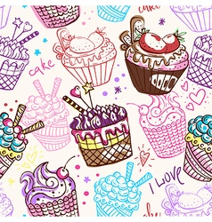 vintage seamless pattern with cakes vector image